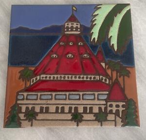 "Pacific Blue Tile ""Hotel del Coronado"" Trivet for hot plate, hanging, coaster"