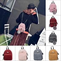 Women Girl Small Mini Backpack Corduroy Rucksack Daypack Cute Bag Travel Satchel