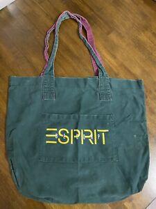 Vintage ESPRIT Canvas Logo Tote Bag - Green W/ Yellow Lettering & Purple Strap