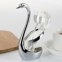 LN_ EG_ Creative Stainless Steel Food Fork Spoon Knife Cutlery Swan Base Holde