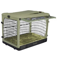 PET GEAR THE OTHER DOOR STEEL CRATE WITH BOLSTER PAD & CARRY BAG SAGE