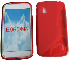 for LG Google Nexus 4 E960 N4 Pattern GEL Soft Case Protector Cover Pouch Red UK