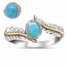 Bohemia Turquoise Feather Ring Jewelry Gift Cocktail Party Wedding Ring Fashion