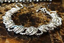"NEW 925 Sterling Silver Chain Link Bracelet Cuff Bangle 8"" Gift Toggle Clasp"