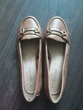 Brown faux leather loafers; ladys size 5