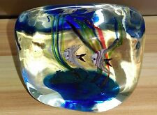 "ANCIEN PRESSE-PAPIERS MURANO ""POISSONS "" GLASS made in Italy vers 1980 - DESIGN"