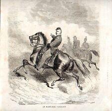 Stampa antica Maresciallo VAILLANT a cavallo Dorè 1859