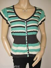 Jasper Conran ~ Green Brown & White Striped Cotton Cardigan Knitted Top  Size 10