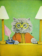 Harry Whittier Frees Cute White Kitten w GLASSES BEHIND a DESK 1958 Print Matted