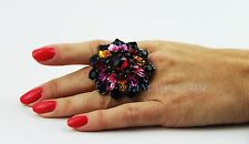 YSL YVES SAINT LAURENT EXTRA LARGE MULTICOLOR SWAROVSKI RING MADE IN FRANCE 6,5