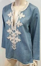 J CREW Blue Cotton Cream Embroidered V Neck Long Sleeve Blouse Shirt Top 8 UK12