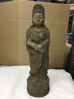 Antica Statua Scultura Cinese in legno dipinto