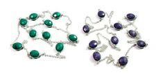 Rare! Turquoise & Charoite Briolette Cut Silver Plated 2 Pcs Necklace Chain