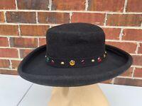 "Vintage Bollman Jeweled Doe Skin Black Wool Felt Wide Brimmed Womens Hat 21.5"""