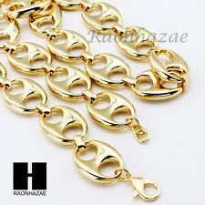 "14K Gold Plated 5 to 25mm wide 9"" 24"" 30"" 36"" Puffed Mariner Gucci Link Chain"