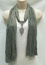 Women's Fashion Jewelry Scarf Necklace Wrap With Silver Crystal Leaf Pendant