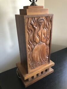 Vintage Mid Century Modern Carved Wood Impressionist Woman Man Art Lamp AWESOME
