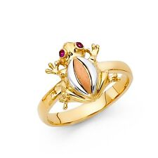 Frog Ring CZ Solid 14k Yellow White Rose Gold Toad Band Good Luck & Money Fancy