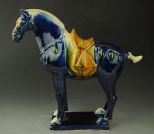 China antique Tang Sancai Porcelain blue Horse Sculptur NR c02