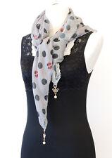 Ladies Fashion Layered Chiffon Knit Polka Dot Scarf with Faux Pearl Charm