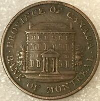 1842 Canada Bank of Montreal Half Penny coin token, free combined shipping