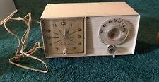 Vintage tested/works General Electric model C-403H White Tube Radio Clock Radio