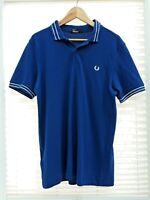 Blue Fred Perry Twin Tipped Polo Shirt Size Large LEOPL