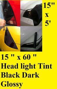 "15"" x 60"" Black Dark Glossy Tint Headlight Taillight Vinyl Film Sheet UNIVERSAL"