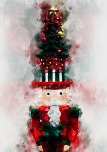 Christmas decoration - Nutcracker watercolour painting unique gift (print)