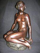 Art Deco Sitzender Akt Keramik bronziert um 1930  41cm  signiert Prof. Poertzel