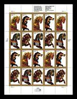 2976-79, 32¢ Carousel Horses Full Pane of 20 Stamps VF NH - Stuart Katz
