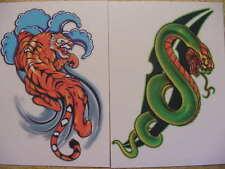 """50 """"Ink Attack"""" Temporary Tattoos serpent tiger puma shark eagle wolf spider Usa"""