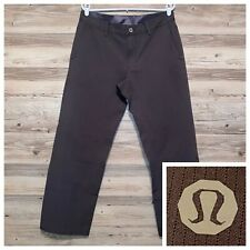 Lululemon ABC Pants Gray Striped Flat Front Pockets Size 34x34 Relaxed Fit