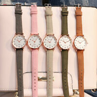 Women Dial Watch Leather Band Stainless Steel Quartz Analog Wrist Watch Gift-WI