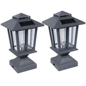 2/4Pack Outdoor Post Light Warm White Weatherproof with 3.5 Inch Pier Mount Base