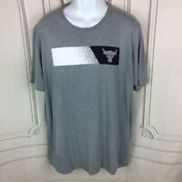 Under Armour Mens  2XL Activewear T-Shirt Gray Heathered Loose Fit Heat Gear