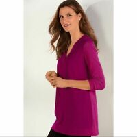 Women's Soft Surroundings Willa V-Neck Tunic In Boysenberry Size XS