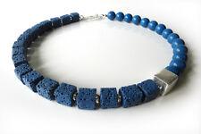 A Sign *Blue Coral* Lava Würfel & Koralle Kugeln Halskette/Kette Blau/Silber