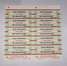 Russ Morgan Full Sheet of 10 Jukebox Title Strips Blue Christmas Mistletoe Kiss
