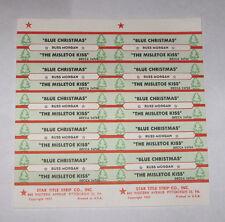 Russ Morgan Full Sheet of 10 Jukebox Title Strips Blue Christmas Mistletoe Kiss