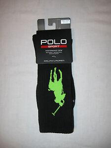 POLO Ralph Lauren Sport Performance Crew Socks NWT Black with Large Green Pony