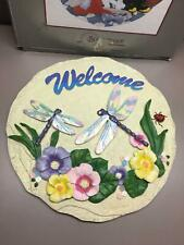 Spoontiques Dragonfly Flowers Stepping Stone Sculpted Painted Garden Decor