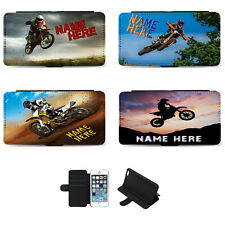 Chicos Personalizado iPhone Teléfono Abatible Cubierta de Estuche Motocross Regalo de Cumpleaños bici de la suciedad