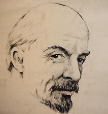 Vintage socialist realism ink painting portrait Vladimir Lenin
