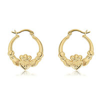 14K Gold Plated Sterling Silver Irish Claddagh Hoop Earrings