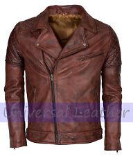 Vintage Brown Mens Real Leather Brando Motorcycle Bikers Leather Jacket Sale