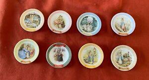 """The World Of Peter Rabbit"" Mini Ceramic Plates 2 1/4"" - 8 LOT Fujiya FW04 USED"