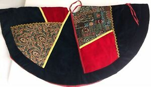 Vintage Christmas Tree Skirt Handmade Crushed Velvet Patchwork with Tapestry