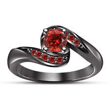1.10 CT Round Cut Red Garnet Women's Engagement Wedding Ring 14K Black Gold Over