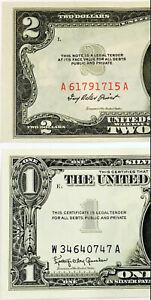 1953 $2 RED & 1957 $1 SILVER CERT! FLAWLESS SUPERB GEMS! MEGA CRISPY$$$